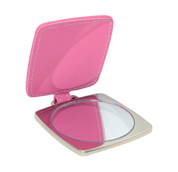 Квадратно огледало с покритие от розова еко кожа