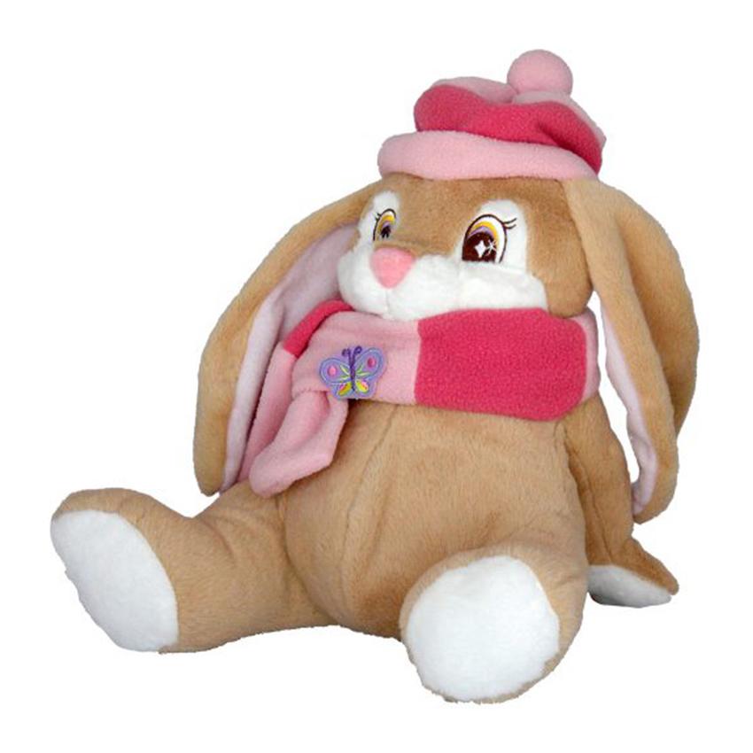 Плюшена играчка заек с шал и шапка, 25см.