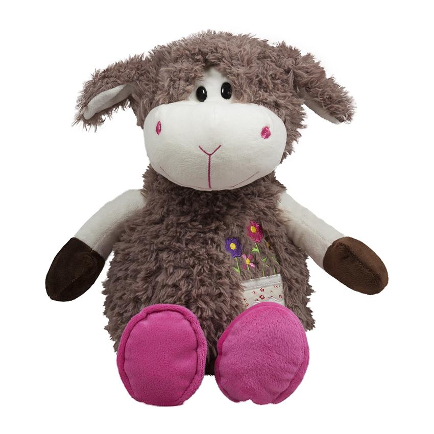 Кафява овчица с розови пантофки