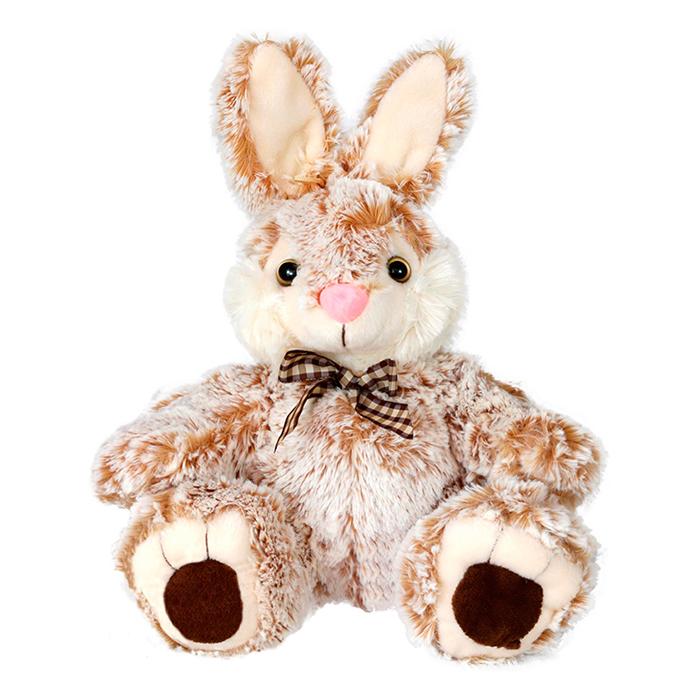 Плюшена играчка заек с кафява панделка, 25см.